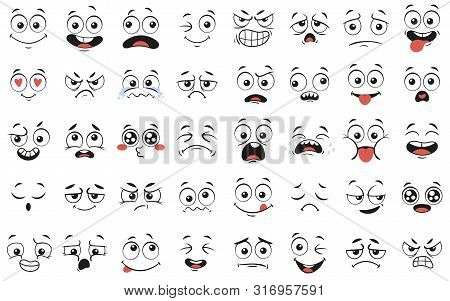 Cartoon Faces. Expressive Eyes And Mouth, Smiling, Crying And Surprised Character Face Expressions.