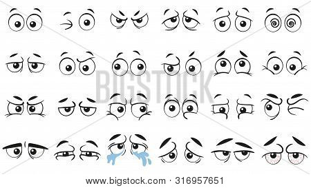 Funny Cartoon Eyes. Human Eye, Angry And Happy Facial Eyes Expressions. Comic Facial Character Caric