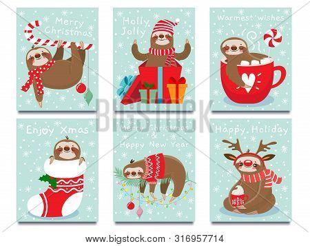Merry Christmas Lazy Sloth. Happy New Year Cute Lazybones, Xmas Laziness And Winter Holidays Greetin