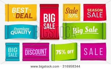 Sale Clothes Labels. Discount Fabric Tag, Best Deal Coupons Fabrics Label And Season Sale Textile Ta