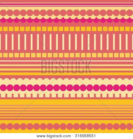 Neon Pink, Orange And Yellow Rectangles, Circles And Stripes Geometric Design. Vibrant Seamless Vect
