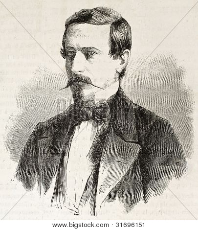 Julio Arboleda old engraved portrait (Colombian statesman). Created by De Lostalot, published on L'Illustration, Journal Universel, Paris, 1863 poster
