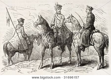 Polish cavalrymen old illustration. Created by Gaildrau, published on L'Illustration, Journal Universel, Paris, 1863