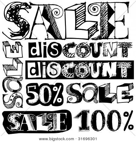 big sale crazy doodles isolated on white background poster