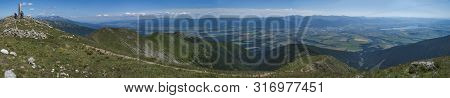 Panoramic View From Baranec Peak On Western Tatra Mountains Or Rohace Panorama. Sharp Green Mountain