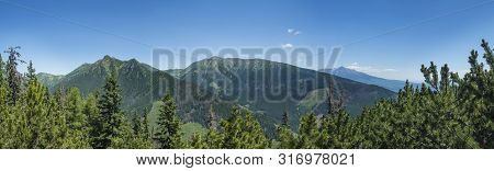 View From Tatra Mountain Trail On Baranec To Western Tatra Mountains Or Rohace Panorama And High Tat
