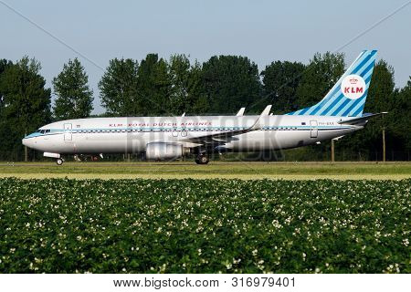 Amsterdam / Netherlands - July 3, 2017: Klm Royal Dutch Airlines Special Retro Livery Boeing 737-800