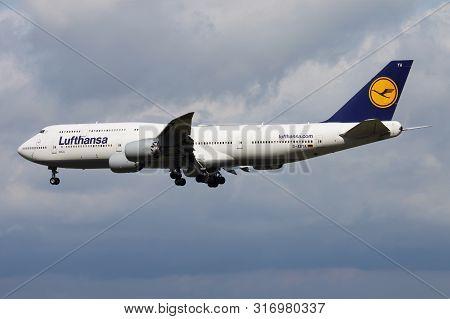 Frankfurt / Germany - August 17, 2014: Lufthansa Boeing 747-8 D-abya Passenger Plane Landing At Fran