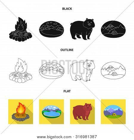 Vector Design Of Cookout And Wildlife Icon. Set Of Cookout And Rest Vector Icon For Stock.