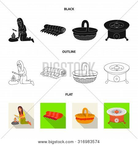 Vector Illustration Of Cookout And Wildlife Sign. Collection Of Cookout And Rest Stock Symbol For We