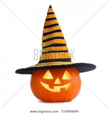Jack O Lantern Halloween pumpkin in witches hat isolated on white background