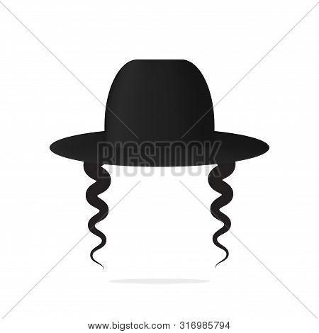 Jewish Hat And Earlock Wig . Black Man Jew Cloth .