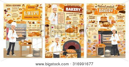 Bakery Shop Bread, Sweet Baked Dessert Cakes And Pastry Cookies. Vector Baker Man In Chef Hat Baking