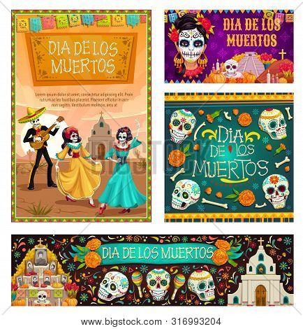 Dia De Los Muertos, Mexican Traditional Holiday, Day Of Dead Celebration. Vector Dancing Gone People