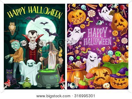 Happy Halloween Holiday Celebration, Trick Or Treat Party Monster Candies. Vector Cartoon Scary Pump