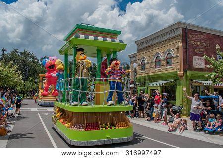 Orlando, Florida. August 07, 2019. Bert And Ernie In Sesame Street At Seaworld 77