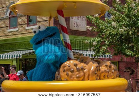 Orlando, Florida. August 07, 2019. Cookie Monster In Sesame Street At Seaworld 75