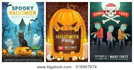 Halloween Night Holiday, Trick Or Treat Party With Zombie And Monsters. Vector Halloween Pumpkin Lan