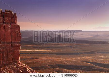 View from Moki Dugway across the Utah desert at sunrise, Route 261, USA