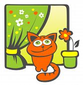 Cartoon happy cat sits on a windowsill. poster