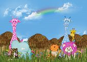 Cute juvenile jungle animals with tiki huts. poster