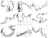 Nine vector musical notes staff backgrounds for design use poster