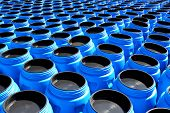 The blue plastic barrels for storage of chemicals poster