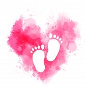 Pregnancy announcement concept illustration. Baby gender reveal concept illustration. Watercolor imitation heart with baby footprints. Pink colored - for baby girl. poster