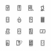 Smartphone Repair, Refurbished Phone outline icons - Black symbol on white background. Simple illustration. Flat Vector Icon. Mirror Reflection. Can be used in logo web mobile UI UX project. poster