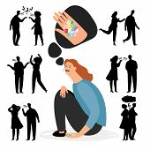 Antidepressants pills. Depression after quarrel or divorce. Depression health, antidepressant treatment, stress and unhappy illustration vector poster