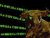 this is a variation with made up stock symbols, color changes, and position changes.  a closeup of a bull's head with green gaining stock tickers scrolling around it.  this represents a bull market or aggresive growth.  it is on a black background. poster