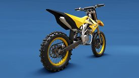 Yellow Sport Bike For Cross-country On A Blue Background. Racing Sportbike. Modern Supercross Motocr