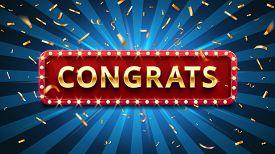 Congrats Banner. Winner Congratulations, Gold Confetti And Golden Congratulation Sign In Frame. Winn