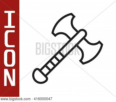 Black Line War Axe Icon Isolated On White Background. Battle Axe, Executioner Axe. Medieval Weapon.