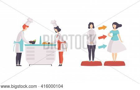 People Taking Part On Tv Show Set, Chefs Preparing Food, Girl Chnging In Fashion Show In Tv Studio C