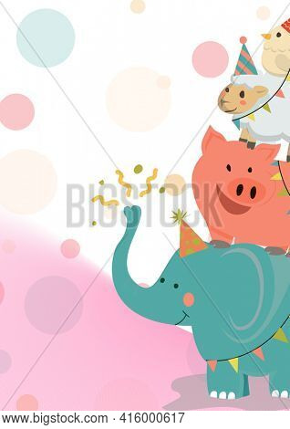 Composition of animals in party hats and abstract shapes with copy space on white background. party and celebration concept digitally generated image.