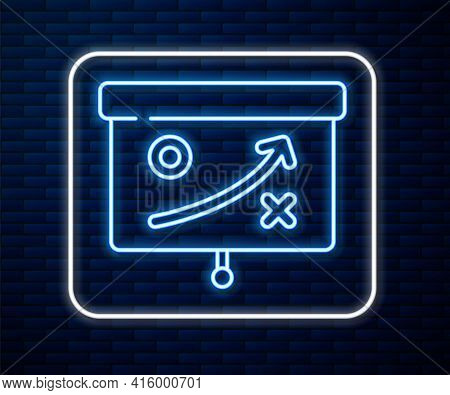 Glowing Neon Line Planning Strategy Concept Icon Isolated On Brick Wall Background. Cup Formation An