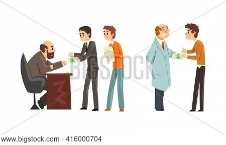 People Offering Bribes Set, Prevention Of Corruption Concept Cartoon Vector Illustration