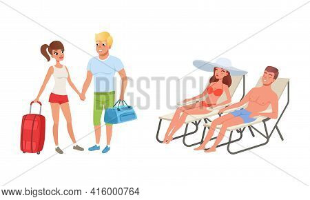 Happy Couples Travelling On Summer Vacation Set, Young Man And Woman Standing With Luggage And Relax