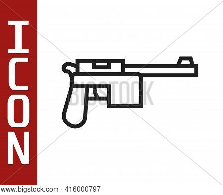 Black Line Mauser Gun Icon Isolated On White Background. Mauser C96 Is A Semi-automatic Pistol. Vect