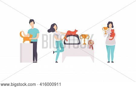 Pet Show Competition Set, Owners And Their Cats Taking Part In Contest Vector Illustration