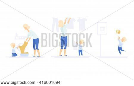 Family Lifestyle Set, Mom And Son Doing Laundry, Hanging Wet Clothes Out To Dry. Boy Playing With Ba