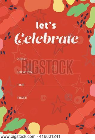 Let's celebrate written in white with colourful shapes, invite with details space on red background. celebration invitation template design with specified copy space, digitally generated image.