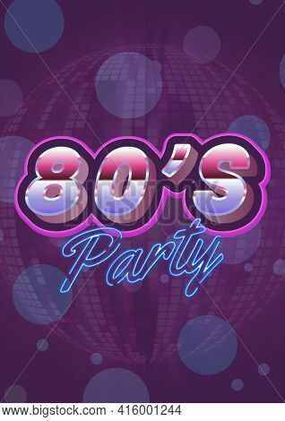 80's party written in shiny numbers and blue letters on invite with purple background. celebration invitation template design with copy space, digitally generated image. on