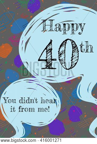 Happy 40th, you didn't hear it from me written in speech bubbles on invite with painterly background. birthday celebration invitation template design with copy space, digitally generated image.