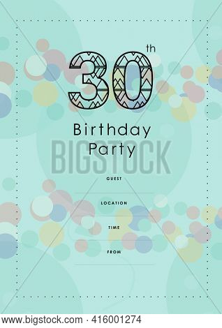 30 birthday party written in black with coloured circles, invite with details on blue background. celebration invitation template design with specified copy space, digitally generated image.