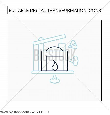 Industry 1.0 Line Icon. Mechanization, Water Power. Steam Power. Mechanized Production. Digital Tran