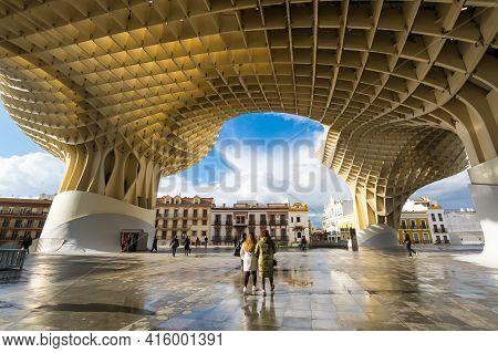 Seville, Spain - 06 April, 2019: Metropol Parasol Is A Wooden Structure Located At La Encarnacion Sq