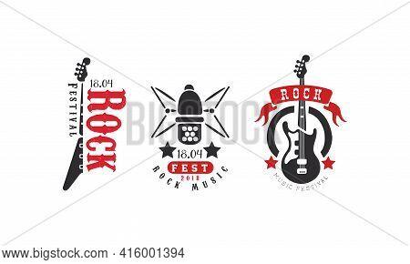 Rock Festival Club Logo Set, Rock Fest Music Retro Badges Vector Illustration