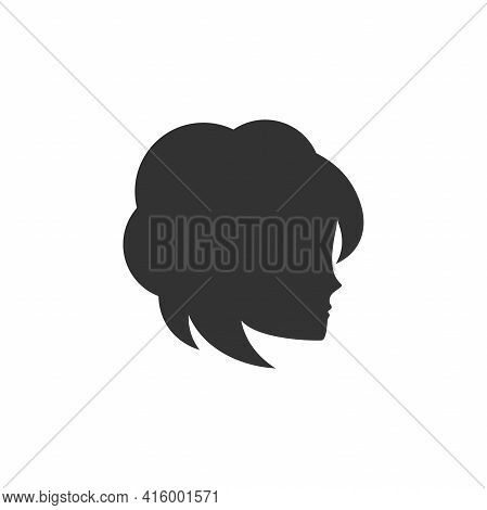 Graceful Woman Silhouette Logotype. Female Face In Profile. Vector Logo Isolated On White. Beautiful